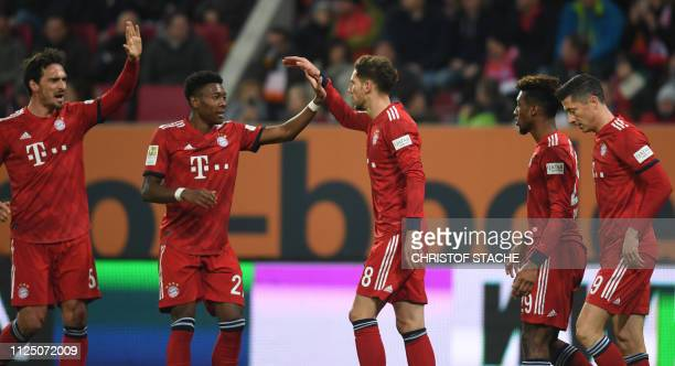 Bayern Munich's defender Mats Hummels Bayern Munich's Austrian defender David Alaba Bayern Munich's midfielder Leon Goretzka Bayern Munich's French...