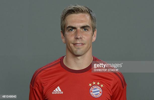 Bayern Munich's defender Philipp Lahm poses during the team presentation of the German first division Bundesliga team FC Bayern Munich at the...