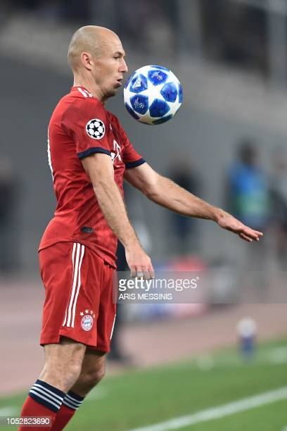 Bayern Munich's Dutch forward Arjen Robben controls the ball during the UEFA Champions League football match between AEK Athens FC and FC Bayern...
