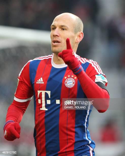Bayern Munich's Dutch midfielder Arjen Robben celebrates scoring during the German first division Bundesliga football match VfB Stuttgart vs FC...