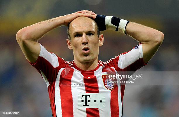 Bayern Munich's Dutch striker Arjen Robben reacts during the UEFA Champions League final football match Inter Milan against Bayern Munich at the...