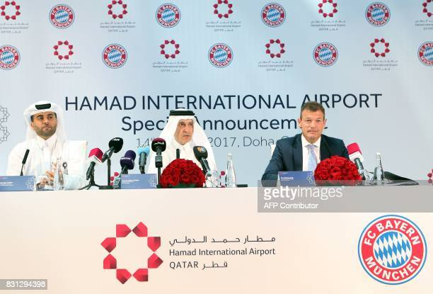 Bayern Munich's Executive Board Member, Andreas Jung gives a press conference with Hamad International Airport's General Chief Executive Akbar...