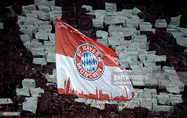 BAyern Munich's flag is seen prior to the UEFA Champions League quarterfinal second leg football match Bayern Munich vs Manchester United in Munich...