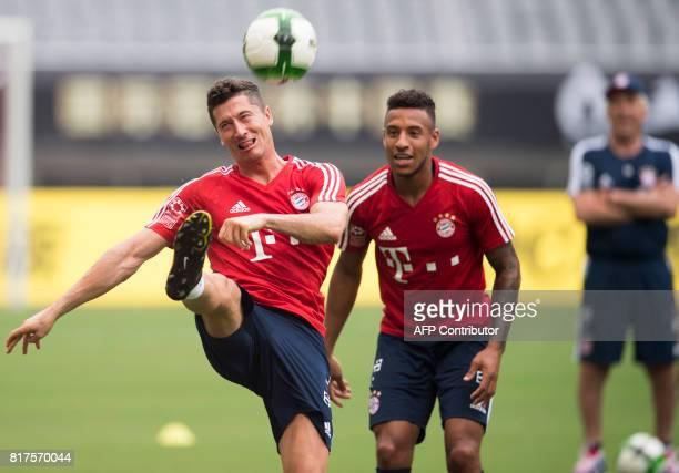 Bayern Munich's forward Robert Lewandowski attends a training session ahead of the International Champions Cup football match between Bayern Munich...