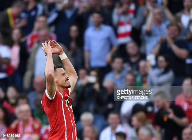 Bayern Munich's forward Sandro Wagner reacts after the second goal for Munich during the German first division Bundesliga football match Bayern...