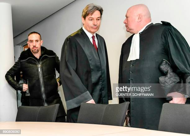 Bayern Munichs Franck Ribery and his lawyer Gerhard Riedl arrive at court over a case filed by his former agent Bruno Heiderscheid who is claiming 35...