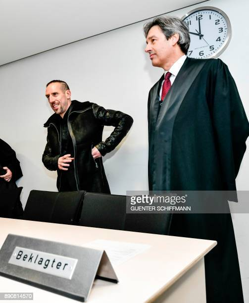 Bayern Munich's Franck Ribery and his lawyer Gerhard Riedl arrive at court for a case filed by his former agent Bruno Heiderscheid who is claiming 35...