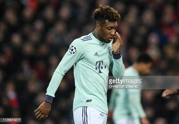 Bayern Munich's French defender Kingsley Coman reacts during the UEFA Champions League round of 16 first leg football match between Liverpool and...