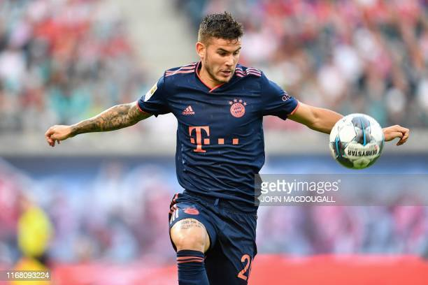 Bayern Munich's French defender Lucas Hernandez controls the ball during the German first division Bundesliga football match RB Leipzig v FC Bayern...