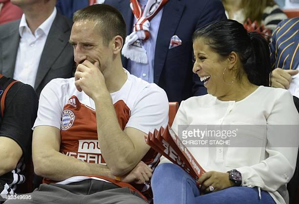 Bayern Munich's French football midfielder Franck Ribery and his wife Wahiba Belhami attend the Euroleague top 16ten match FC Bayern Basketball vs...
