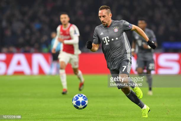 Bayern Munich's French forward Franck Ribery drives the ball during the UEFA Champions League Group E football match between AFC Ajax and FC Bayern...