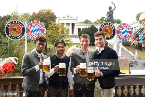 Bayern Munich's French forward Kingsley Coman, Bayern Munich's German midfielder Serge Gnabry, Bayern Munich's German forward Thomas Mueller and...