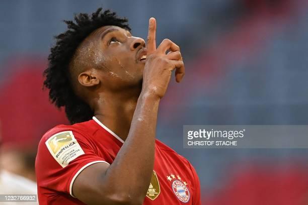 Bayern Munich's French forward Kingsley Coman celebrates scoring the 4-0 goal during the German first division Bundesliga football match FC Bayern...
