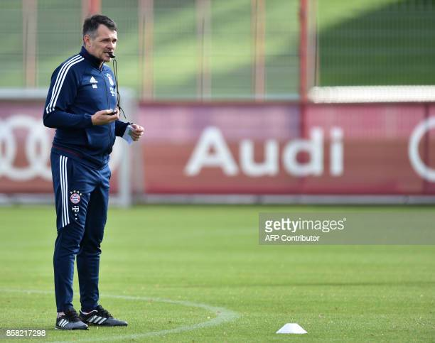 Bayern Munich's French interim coach Willy Sagnol follows the training session at the club area in Munich southern Germany on October 6 2017 / AFP...