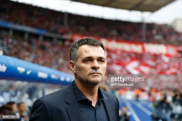 Bayern Munich's French interim head coach Willy Sagnol arrives for the German first division Bundesliga football match between Hertha Berlin and FC...