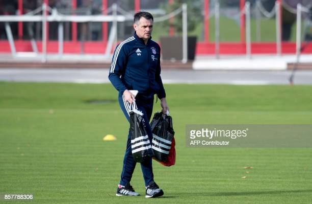 FC Bayern Munich's French interim head coach Willy Sagnol arrives to lead a training session on October 5 2017 at the club's training camp in Munich...