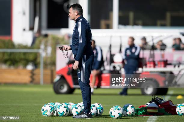 FC Bayern Munich's French interim head coach Willy Sagnol leads a training session on October 5 2017 at the club's training camp in Munich southern...