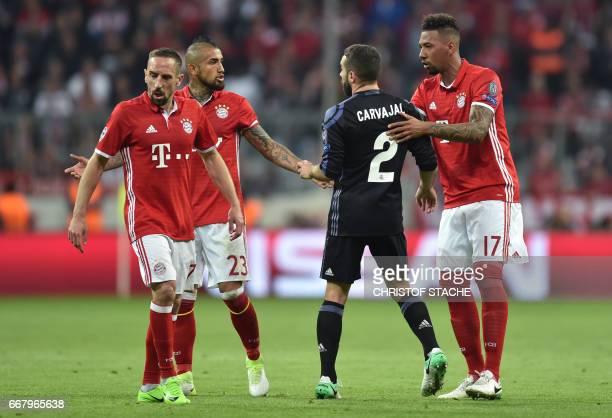 Bayern Munich's French midfielder Franck Ribery Bayern Munich's Chilian midfielder Arturo Vidal Real Madrid's defender Dani Carvajal and Bayern...