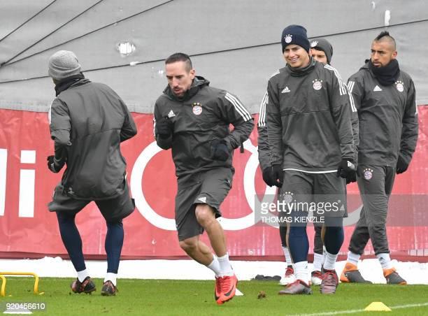 Bayern Munich's French midfielder Franck Ribery Bayern Munich's German midfielder Joshua Kimmich and Bayern Munich's Chilean midfielder Arturo Vidal...