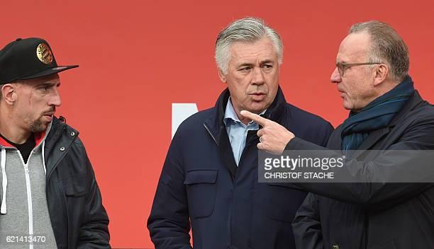 Bayern Munich's French midfielder Franck Ribery Bayern Munich's Italian headcoach Carlo Ancelotti and CEO of FC Bayern Munich KarlHeinz Rummenigge...