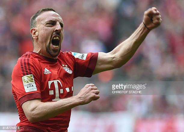 Bayern Munich's French midfielder Franck Ribery celebrates after scoring during the German Bundesliga first division football match between FC Bayern...