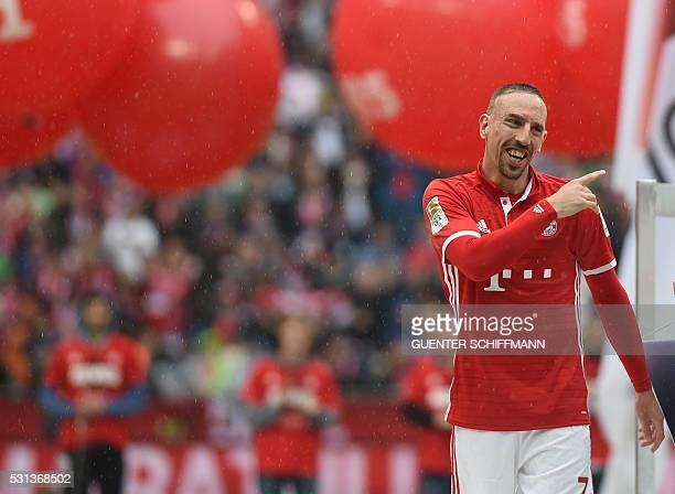 Bayern Munich's French midfielder Franck Ribery celebrates after the German first division Bundesliga football match between FC Bayern Munich and...