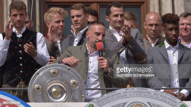 Bayern Munich's French midfielder Franck Ribery celebrates on the balcony of the city hall in Munich southern Germany on May 20 2018