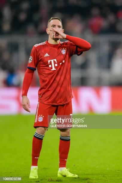 Bayern Munich's French midfielder Franck Ribery celebrates scoring during the UEFA Champions League Group E football match Bayern Munich vs Benfica...