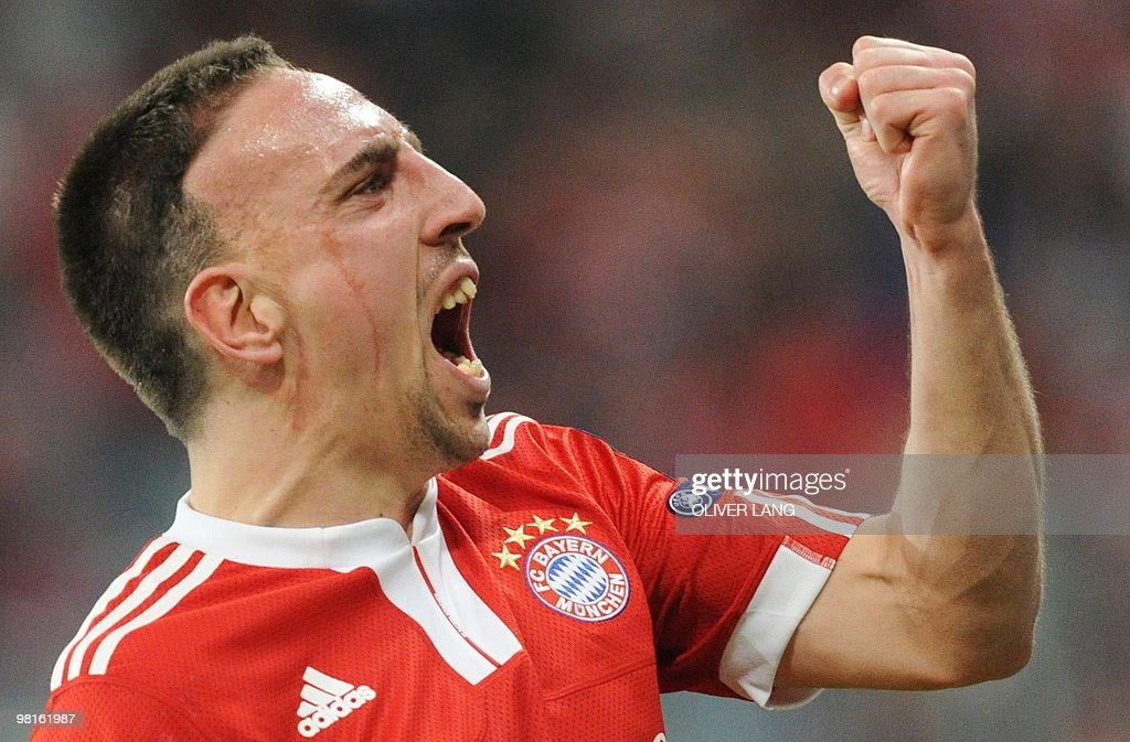 Bayern Munich's French midfielder Franck Ribery celebrates scoring during the UEFA Champions League 1st leg quarter-final match FC Bayern Munich vs Manchester United at the Allianz Arena in the southern German city of Munich on March 30, 2010.