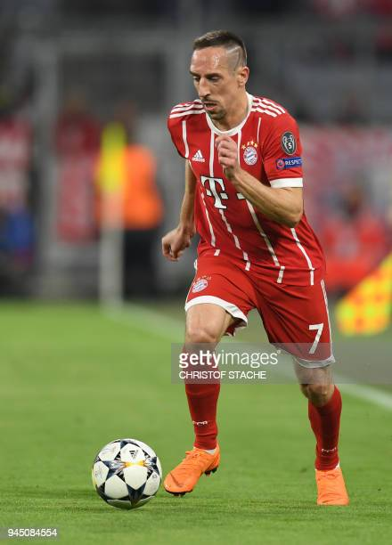 Bayern Munich's French midfielder Franck Ribery plays the ball during the UEFA Champions League quarterfinal second leg football match between FC...
