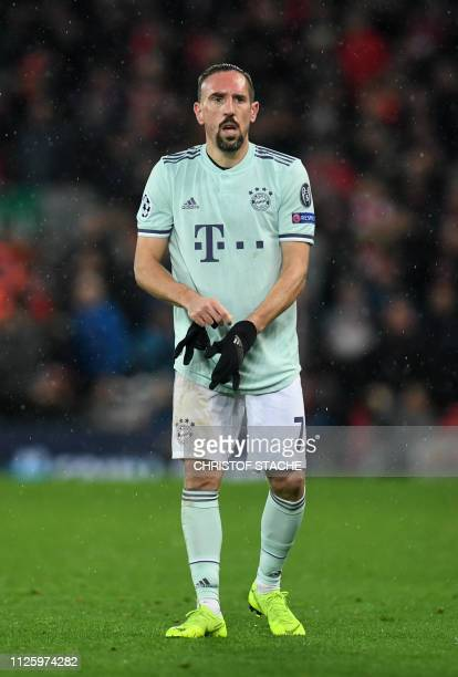 Bayern Munich's French midfielder Franck Ribery reacts during the UEFA Champions League round of 16 first leg football match between Liverpool and...