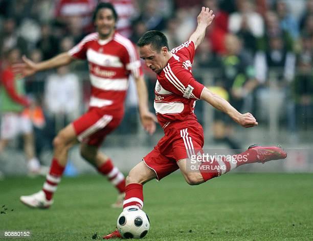 DFL Bayern Munich's French midfielder Franck Ribery scores the 41 against Stuttgart during their 30th day Bundesliga football match on April 27 2008...
