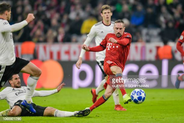 Bayern Munich's French midfielder Franck Ribery vies for the ball during the UEFA Champions League Group E football match Bayern Munich vs Benfica...
