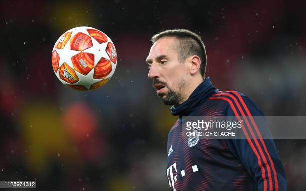 TOPSHOT Bayern Munich's French midfielder Franck Ribery warms up prior the UEFA Champions League round of 16 first leg football match between...