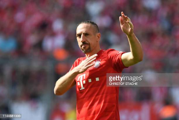 Bayern Munich's French midfielder Franck Ribery waves during the German First division Bundesliga football match FC Bayern Munich v Eintracht...
