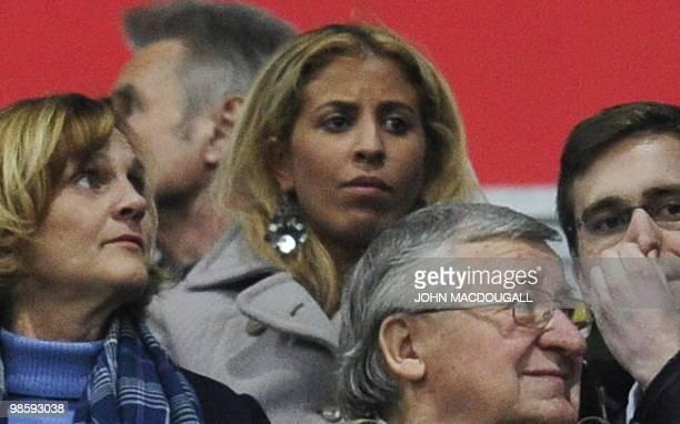 Bayern Munich's French midfielder Franck Ribery's wife Wahiba attends the first leg UEFA Champions League semifinal football match FC Bayern Munich...