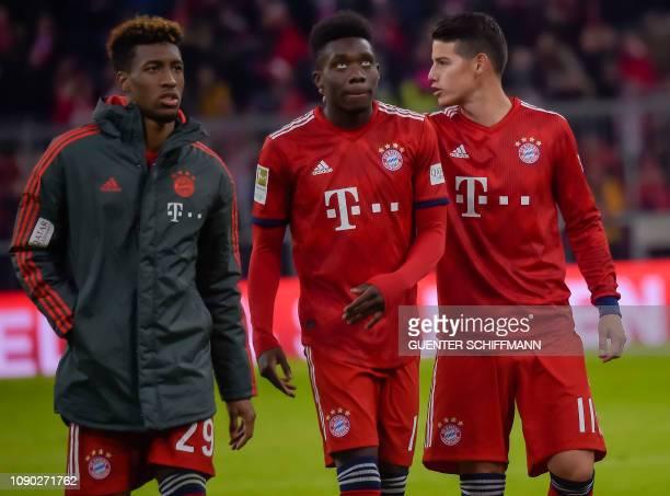 Bayern Munich's French midfielder Kingsley Coman Bayern Munich's Canadian midfielder Alphonso Davies and Bayern Munich's Columbian midfielder James...