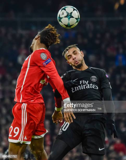 Bayern Munich's French striker Kingsley Coman and Paris SaintGermain's French defender Layvin Kurzawa 20vie for the ball during the UEFA Champions...