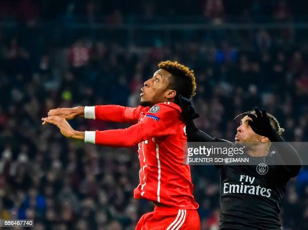 Bayern Munich's French striker Kingsley Coman vies with Paris SaintGermain's French defender Layvin Kurzawa during the UEFA Champions League football...
