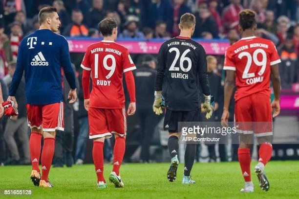 Bayern Munich's German defender Niklas Suele Bayern Munich's German midfielder Sebastian Rudy Bayern Munich's German goalkeeper Sven Ulreich and...