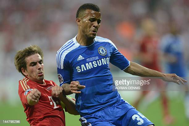 Bayern Munich's German defender Philipp Lahm and Chelsea's British defender Ryan Bertrand vie for the ball during the UEFA Champions League final...