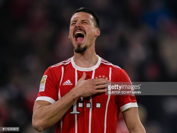 Bayern Munich's German forward Sandro Wagner celebrates after scoring a goal during the German first division Bundesliga football match Bayern Munich...