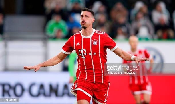 Bayern Munich's German forward Sandro Wagner celebrates after scoring his team's first goal during the German first division Bundesliga football...