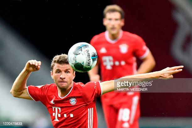 Bayern Munich's German forward Thomas Mueller controls the ball during the German first division Bundesliga football match SV Werder Bremen v FC...