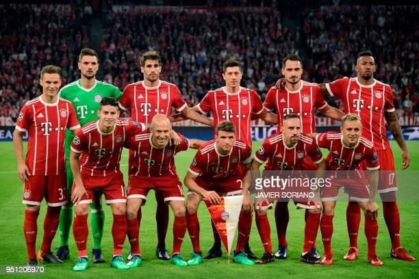 Bayern Munich's German goalkeeper Sven Ulreich Bayern Munich's Spanish midfielder Javier Martinez Bayern Munich's Polish forward Robert Lewandowski...