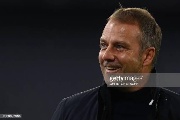 Bayern Munich's German head coach Hans-Dieter Flick reacts prior to the German Supercup football match FC Bayern Munich v BVB Borussia Dortmund in...