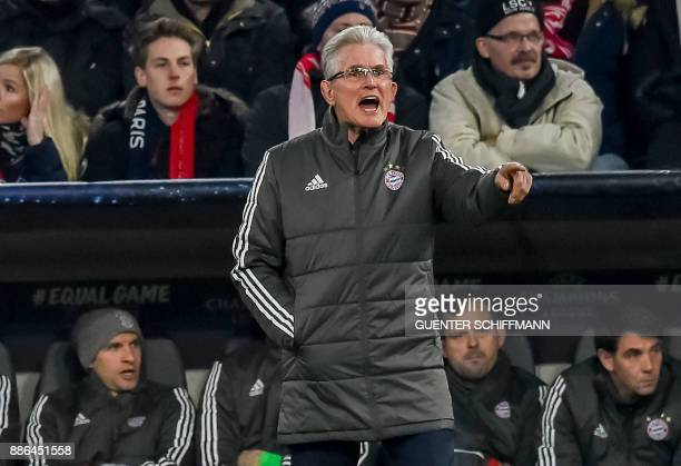 Bayern Munich's German head coach Jupp Heynckes during the UEFA Champions League football match between Paris SaintGermain and Bayern Munich on...