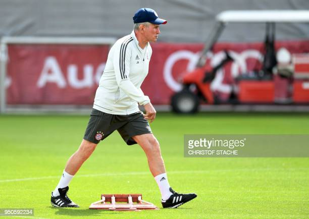 Bayern Munich's German head coach Jupp Heynckes leads a training session at the trainings ground of FC Bayern Munich in Munich southern Germany on...