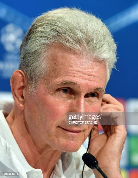 Bayern Munich's German head coach Jupp Heynckes listens during a press conference at the stadium in Munich southern Germany on April 24 2018 on the...