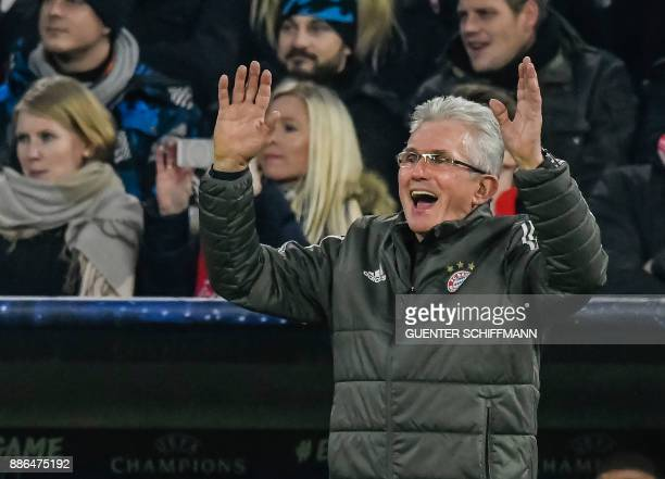 Bayern Munich's German head coach Jupp Heynckes reacts during the UEFA Champions League football match between Paris SaintGermain and Bayern Munich...